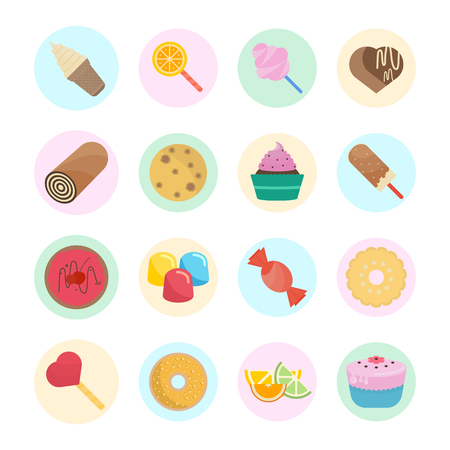 Set vector illustration of candy. Flat elements with color round backdrops on white background