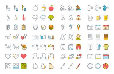 Zestaw ikon linii i koloru wektora w diabelskim wzornictwie i cukrzycy z elementami dla pojęć mobilnych i aplikacjami internetowymi. Kolekcja nowoczesnego logo i piktogramu infograficznego. Logo