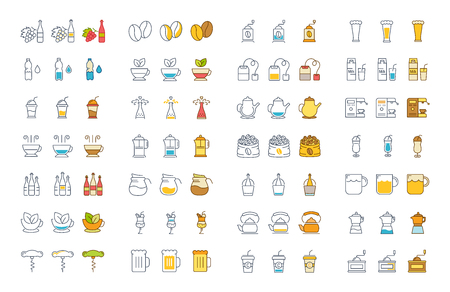 Set of vector line and color icons drinks and alcohol in flat design with elements for mobile concepts and web. Collection modern infographic logo and pictogram. Illustration