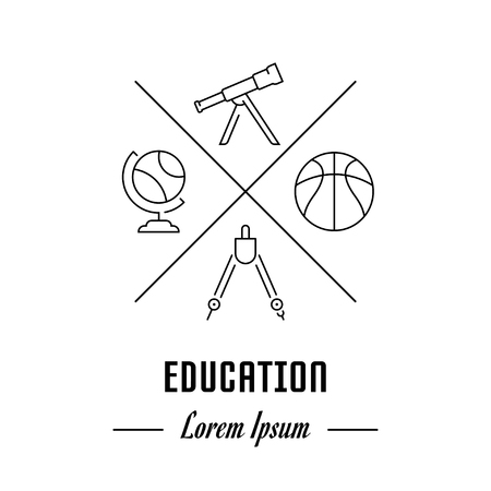 mathematics: Line illustration of education. Concept for web banners and printed materials. Template for website banner and landing page Illustration