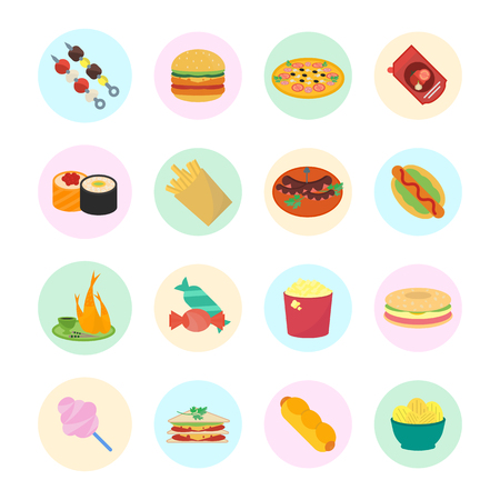 hot dog: Set vector illustration of fast food. Flat elements with color round backdrops on white background.