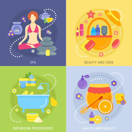Colorfull vector banners with flat icons of spa, beauty and care, bathroom procedures, health.