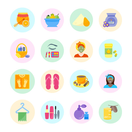 Set vector illustration of health and beauty. Flat elements with color round backdrops on white background.