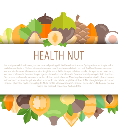 Vector frame with place for text, isolated on white background. Horizontal banner for nuts shop or farmer market.