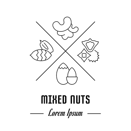 Vector logo mixed nuts. Emblem, label or banner for mixed nuts. Line sign with elements. Concept brand.
