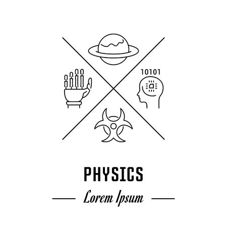 mathematics: Vector logo physics. Emblem, label or banner for physics. Line sign with elements. Concept brand. Illustration