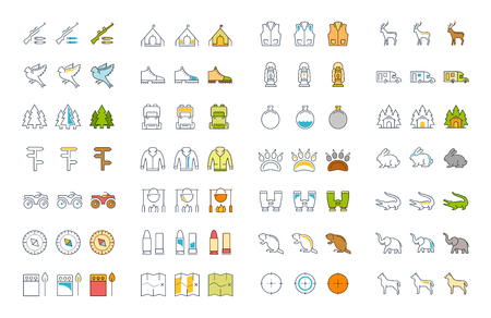 readiness: Set vector line icons, sign and symbols in flat design hunting with elements for mobile concepts and web apps. Collection modern infographic logo and pictogram.