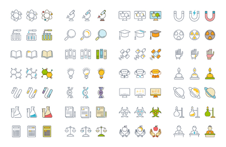 Set of line icons of physic with elements for mobile concepts and web apps.