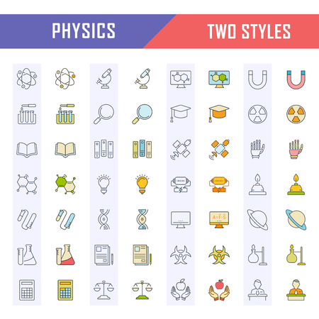 Set vector line icons, sign and symbols in flat design physic with elements for mobile concepts and web apps. Illustration