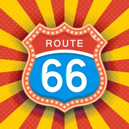 Bright road sign with the text route 66. Vector illustration on theme of the night signs.