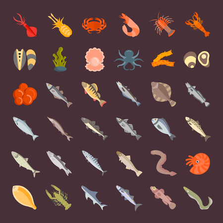 Set vector illustration of seafood. Flat elements on white background.