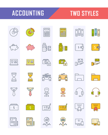 Set vector line icons in flat design accounting, finance and business with elements for mobile concepts and web apps.
