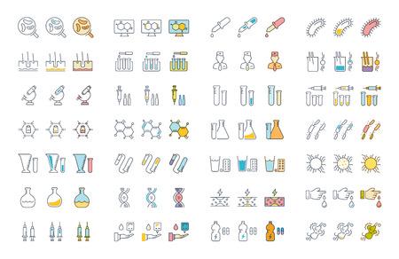 モバイルコンセプトやウェブアプリのための要素を持つ細菌やウイルスのフラットなデザインでベクトルラインのアイコン、記号や記号を設定しま  イラスト・ベクター素材