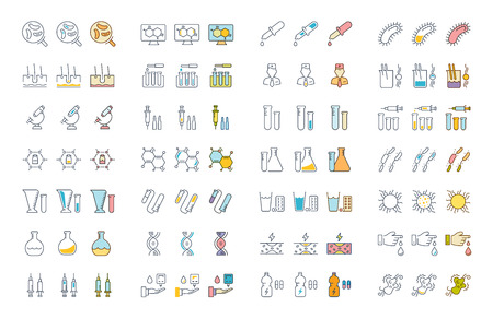 Set vector line icons, sign and symbols in flat design of bacteria and virus with elements for mobile concepts and web apps.