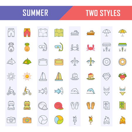 Set vector line icons, sign and symbols in flat design summer with elements for mobile concepts and web apps.