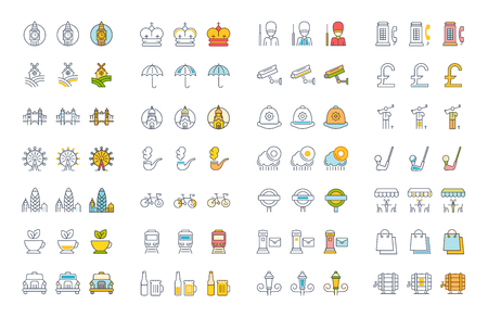 british culture: Set vector line icons in flat design United Kingdom, England, Ireland and Scotland with elements for mobile concepts and web apps. Illustration