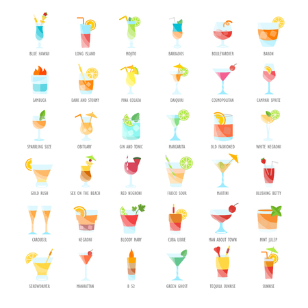 Set vector illustration of coctails. Flat elements on white background.