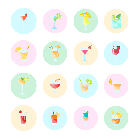 Vector illustration of cocktails set.