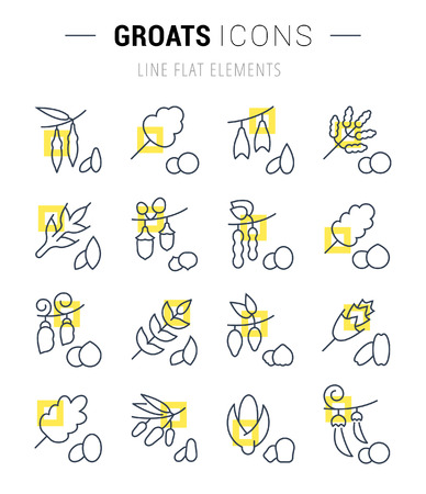 Set of vector line icons and signs with yellow squares of groats for excellent concepts. Collection of infographics logos and pictograms.