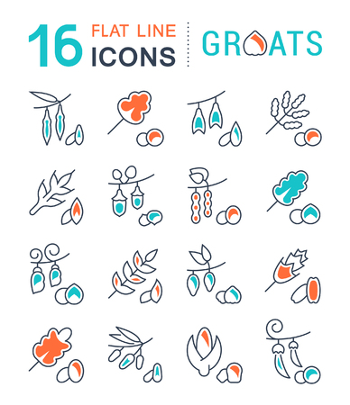 Set of vector line icons, sign and symbols with flat elements of groats for modern concepts, web and apps. Collection of infographics logos and pictograms. Vettoriali