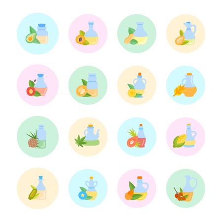 Set vector illustration of oils. Flat elements on white background. Illustration