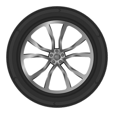 Vector illustration on theme wheel of car. Object for automobile and truck spare parts.
