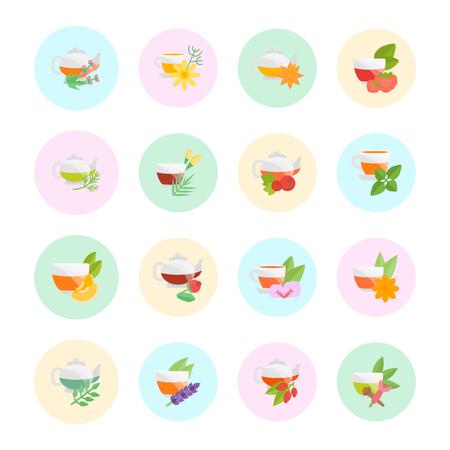 Set vector illustration of tea. Flat elements on white background.