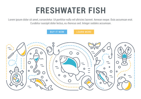 Line illustration of freshwater fish. Concept for web banners and printed materials. Template with buttons for website banner and landing page.
