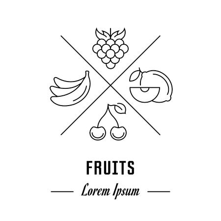 Hipster emblem, label or banner for fruits. Line sign with elements. Concept brand.