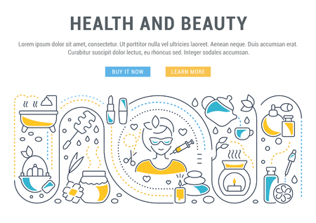 Line illustration of health and beauty. Concept for web banners and printed materials. Template with buttons for website banner and landing page. 版權商用圖片 - 92033767
