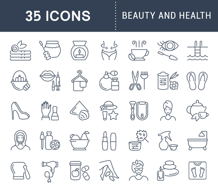 Set of health and beauty line concept icons in black and white. 向量圖像