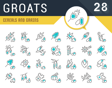 Set of cereal and grains line concept icons.