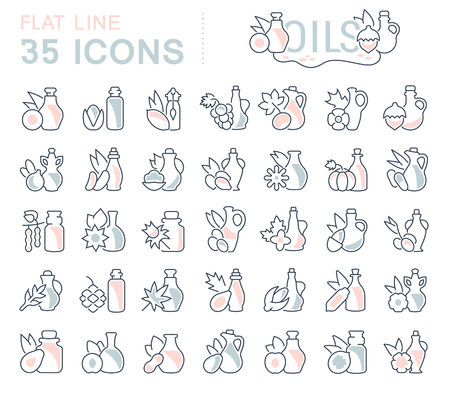 Set of vector line icons, sign and symbols with flat elements of oils for modern concepts, web and apps. Collection of infographics logos and pictograms.