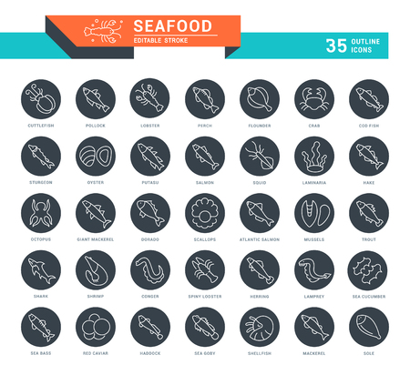 Set of outline white icons on black rounds of seafood with names. Collection vector thin line signs. Simple linear pictogram pack for web graphics and apps.