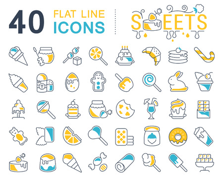 Set of vector line icons, sign and symbols with flat elements of sweets for modern concepts, web and apps. Collection of infographics logos and pictograms.