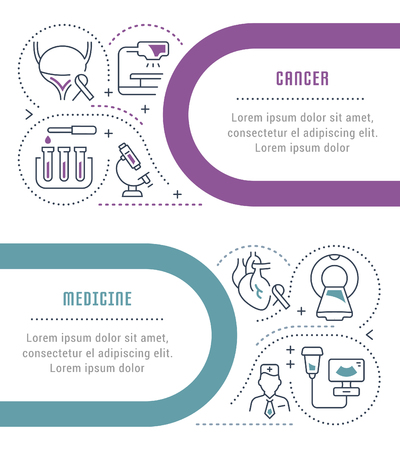 Line illustration of cancer. Concept for web banners and printed materials. Template for website banner and landing page.