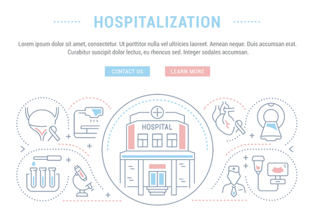 Line illustration of hospitalization. Concept for web banners and printed materials. Template with buttons for website banner and landing page. Illustration
