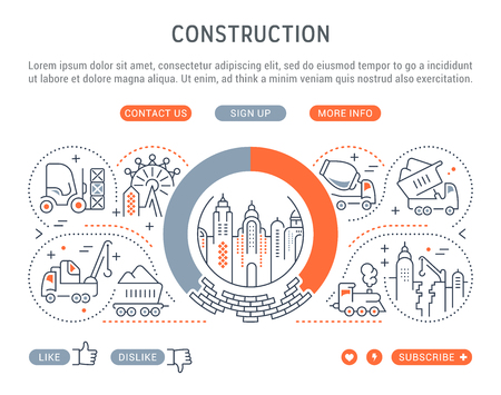 Line illustration of construction. Concept for web banners and printed materials. Template with buttons for website banner and landing page.