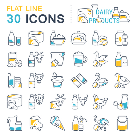 Set of vector line icons, sign and symbols with flat elements of dairy products for modern concepts, web and apps. Collection of info-graphics icon and pictograms.