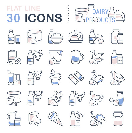 Set of vector line icons, signs and symbols with flat elements of dairy products for modern concepts, web and apps. Collection of infographic designs and pictograms.