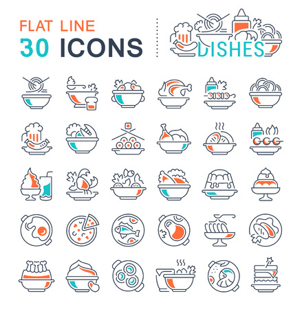 Set of vector line icons, sign and symbols with flat elements of dishes for modern concepts, web and apps. Collection of info-graphics icon and pictograms.
