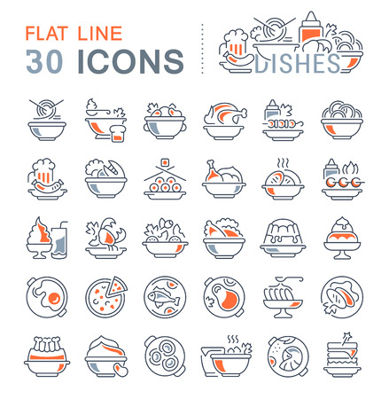 Set di icone vettoriali linea, segno e simboli con elementi piatti di piatti per concetti moderni, web e applicazioni. Collezione di infografica icona e pittogrammi.