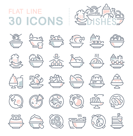 Set of vector line icons, sign and symbols with flat elements of dishes for modern concepts, web and apps. Collection of infographics icon and pictograms.
