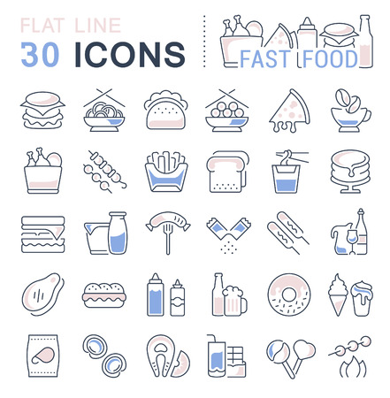 Set of vector line icons, sign and symbols with flat elements of fast food for modern concepts, web and apps. Collection of infographics icon and pictograms.