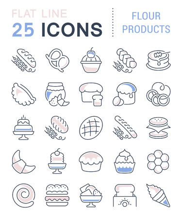 Set of vector line icons, sign and symbols with flat elements of flour products for modern concepts, web and apps. Collection of infographics logos and pictograms.