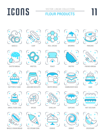 Collection of vector flat icons with thin line elements of flour products. Set of clean design, and outline signs. Simple linear infographics and pictograms pack for web graphics and apps.