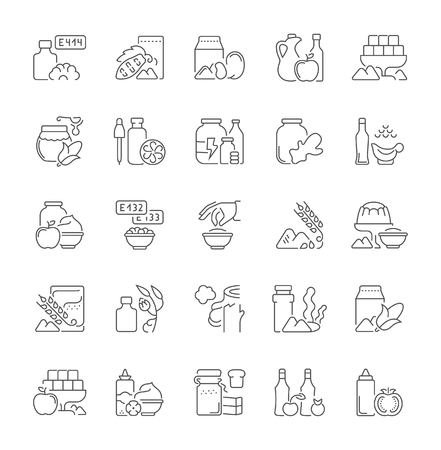 Collection of line gray icons of food additives. Set of vector simple concepts for creative projects and apps. Info graphics elements and pictograms. 向量圖像