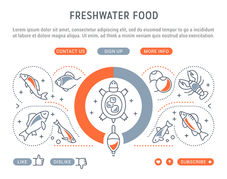 Line illustration of freshwater food. Concept for web banners and printed materials. Template with buttons for website banner and landing page. Çizim