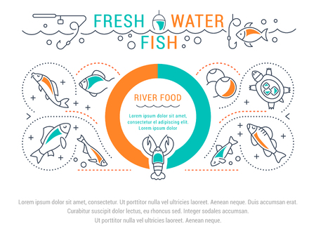 Line illustration of freshwater fish. Concept for web banners and printed materials. Template for website banner and landing page. Çizim