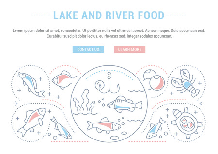 Line illustration of lake and river food. Concept for web banners and printed materials. Template with buttons for website banner and landing page. Çizim
